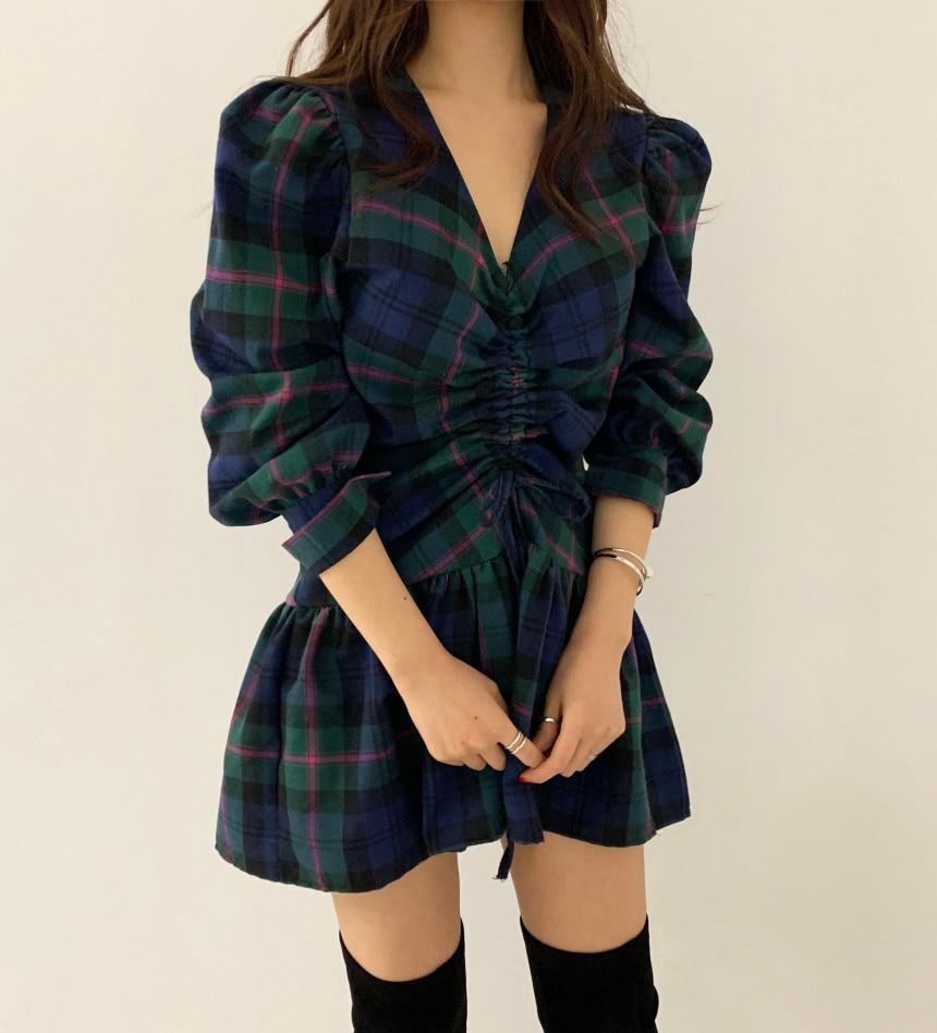 H1cf86fdeb61045eabc7a45ea0781b666V - Autumn V-Neck Puff Sleeves Waist-Controlled Color-Hit Plaid Drawstring Mini Dress