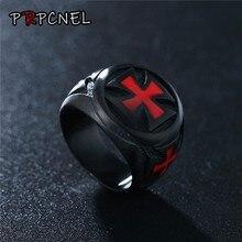 Anéis masculinos de aço inoxidável, preto, cor vermelha, escudo, cavaleiro, cruzado, punk, joias, drop shipping