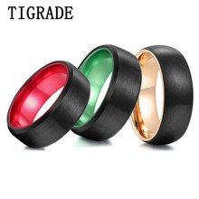 TIGRADE Mens Ring 100% Tungsten Black Brushed Wedding Band Gold/Red/Green Inside Custom Engraving Couple 8mm For Man Woman