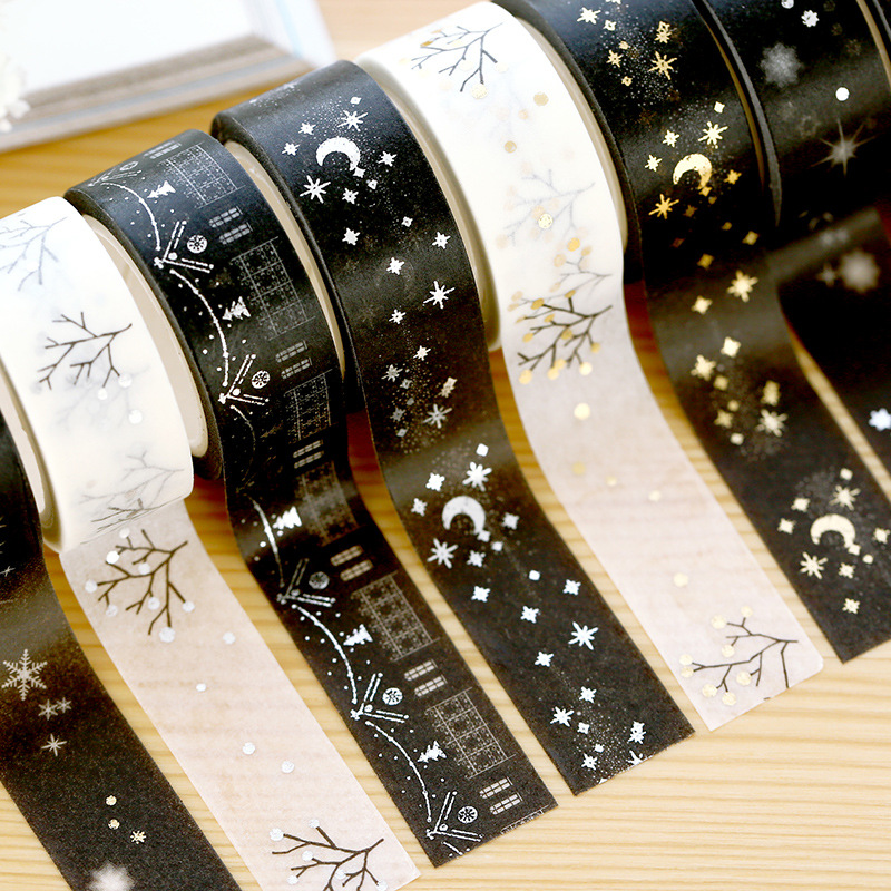 1 PC Gilding Washi Tape White&Black Series Art Journal Decoration Bronzing Scrapbooking Masking Tape Wedding/birthday/journal