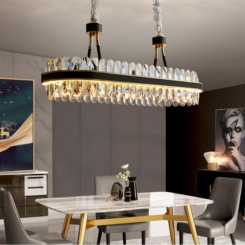 Modern LED Kitchen Chandelier Rectangular Crystal Chandelier Modern Designer Creative Leather Dining Room Lamp