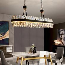Modern LED kitchen chandelier rectangular crystal chandelier modern designer creative leather dining room lamp