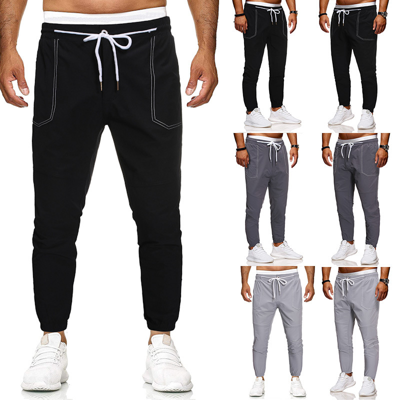 2020 Euro Code Pants Men Cotton Clothes Hip Hop Streetwear Joggers Sweatpants Pants Man Trousers Casual Lace Up Sportpant