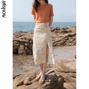MISHOW Summer New Skirts For Women Causal Printed High Waist Aline Hem Slit Women's Skirt Fahsion Beach Skirt MXA23B0013 1