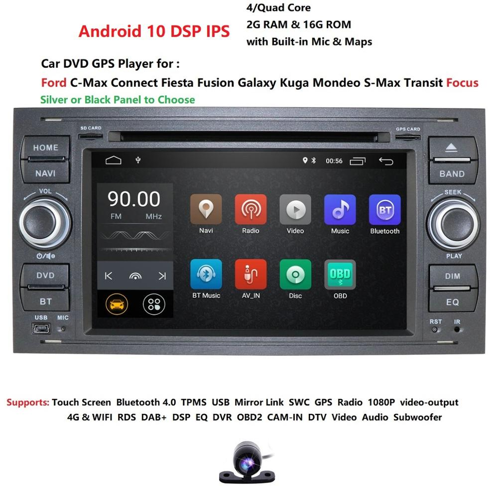 DSP IPS Android10.0 Quad core RAM 2G Car DVD <font><b>GPS</b></font> Radio stereo For <font><b>Ford</b></font> Mondeo S-max Focus C-MAX Galaxy <font><b>Fiesta</b></font> Form Fusion PC CAM image
