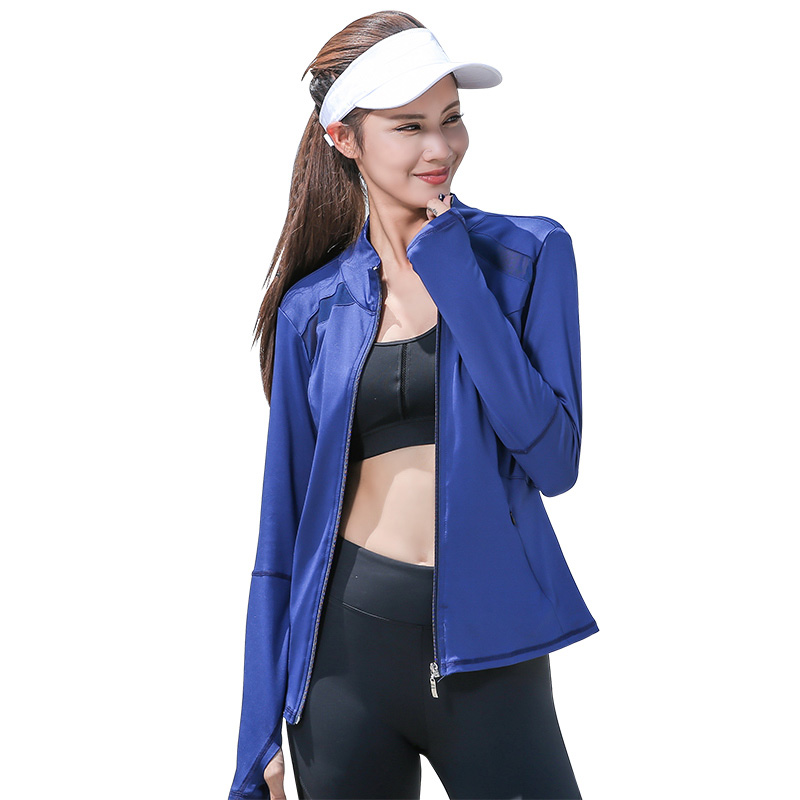 Image 4 - Womens Long Sleeve Sports Running Jacket Net Yarn Splicing Yoga Gym Fitness Tight Tops Quick Dry Breathable Sports Coat-in Running Jackets from Sports & Entertainment on AliExpress