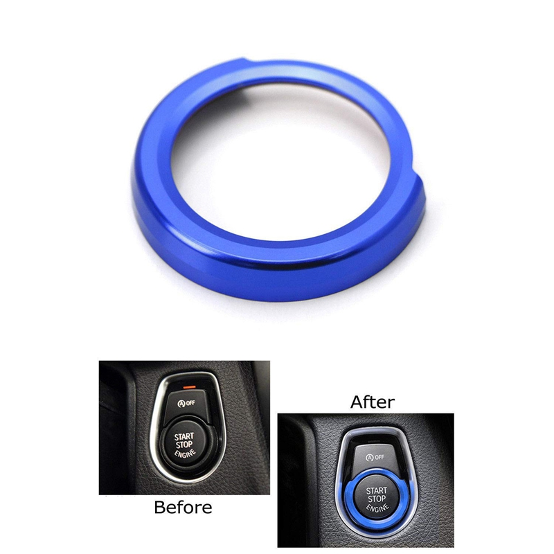 Set Of Anodized Blue Aluminum Keyless Engine Push Start Button For BMW 2 3 4 Series X1 (F22 F30 F32 F34 F48)