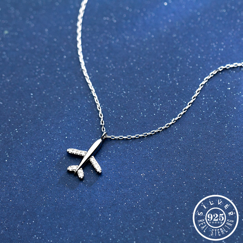 Beautiful Airplane Pendant with Cubic Zirconia Stone 925 Sterling Silver Statement Chain Necklaces Fine Jewelry for Women image
