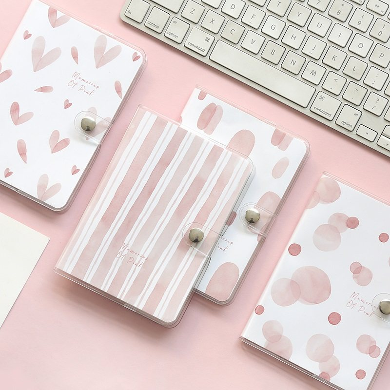Kawaii Pink Hardcover Notebook Journal Notepad Paper Diary Portable Book School Office Supplies Memo Horizontal Line Stationery