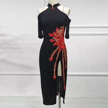 New Latin Dance Dress Adult Black Cheongsam Dress Stage Show Costume Competition Ballroom Dancing Dress Cha Cha Dance Dress