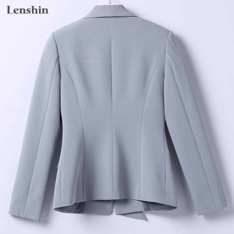 Lenshin Formal Asymmetrical Gray Pant Suit for Women Work Wear Office Lady Elegant Style Business Jacket with Pants Sets 18