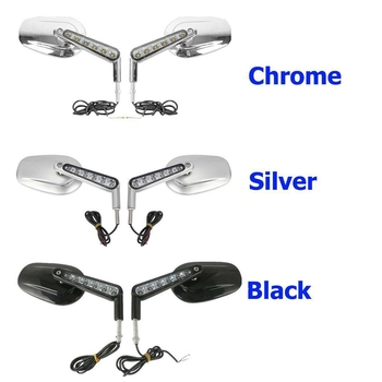 Motorcycle Muscle Rear View Mirrors LED Turn Signals Light For Harley Davidson VROD V-Rod VRSCF 2009-2017 1pcs x chrome led headlight for harley davidson v rod vrod headlight vrsc v rod led headlight motorcycle aluminum headlight