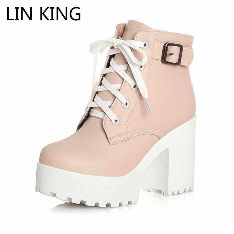 LIN KONING Vintage Gesp Dikke Hak Korte Laarzen Vierkante Hak Vrouwen Platform Enkellaarsjes Mode Pu Lace Up Korte Laarzen big Size