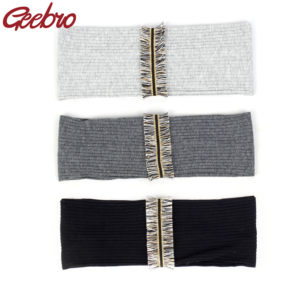 Geebro Vintage Boho Tassel Stripe Women Headband Soft Ribbed Hair Band Wide Elastic Hair Accessories For Yoga Running Girls Gift
