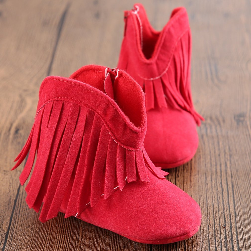 Infant Baby Shoes Soft Soled Anti-slip Baby Booties Girl Boy Kids Solid Fringe Shoes Footwear For Newborn First Walkers Boots
