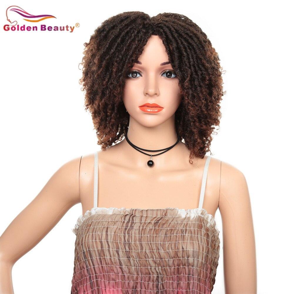 Image 2 - 14inch Short Wigs for Black Women Synthetic Dreadlocs Hair Wig Ombre Black Bug Crochet Braid Wigs Heat Resistant Golden BeautySynthetic None-Lace  Wigs   -