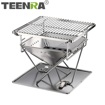 TEENRA Portable Stainless Steel BBQ Grill Folding BBQ Grill Outdoor BBQ Grill Camping Picnic Barbecue Tool Barbecue Accessories