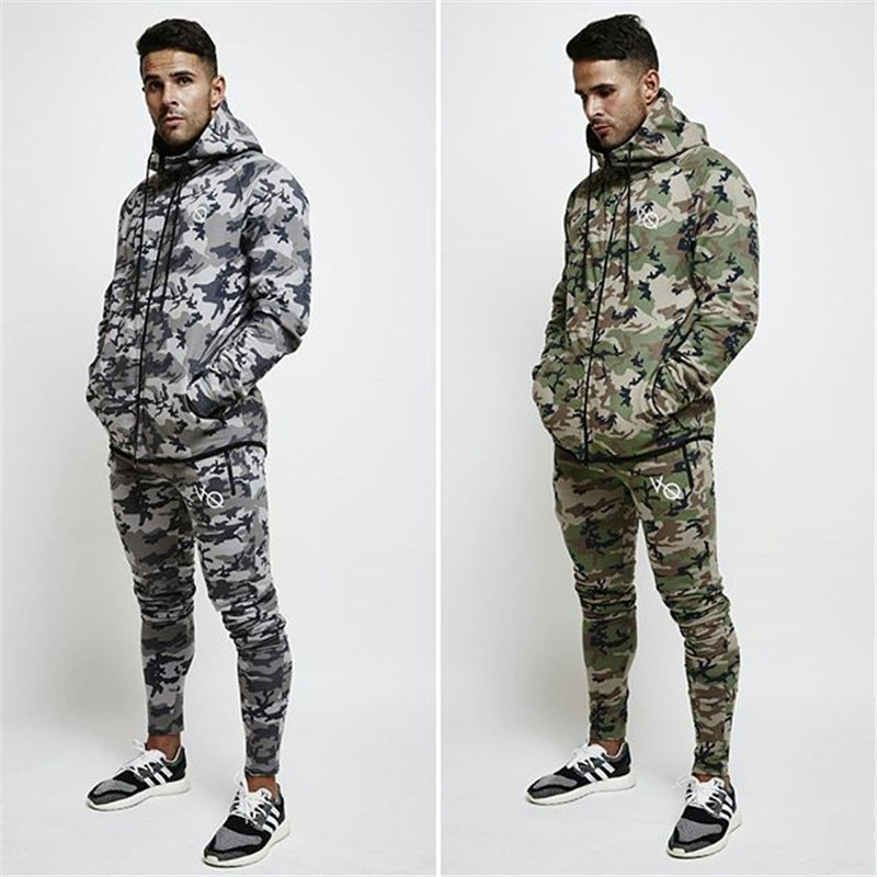 New Style Muscle Fitness Brother VQ Sports Suit Autumn And Winter Men's Outdoor Casual Camouflage Stretch Zip-up Shirt