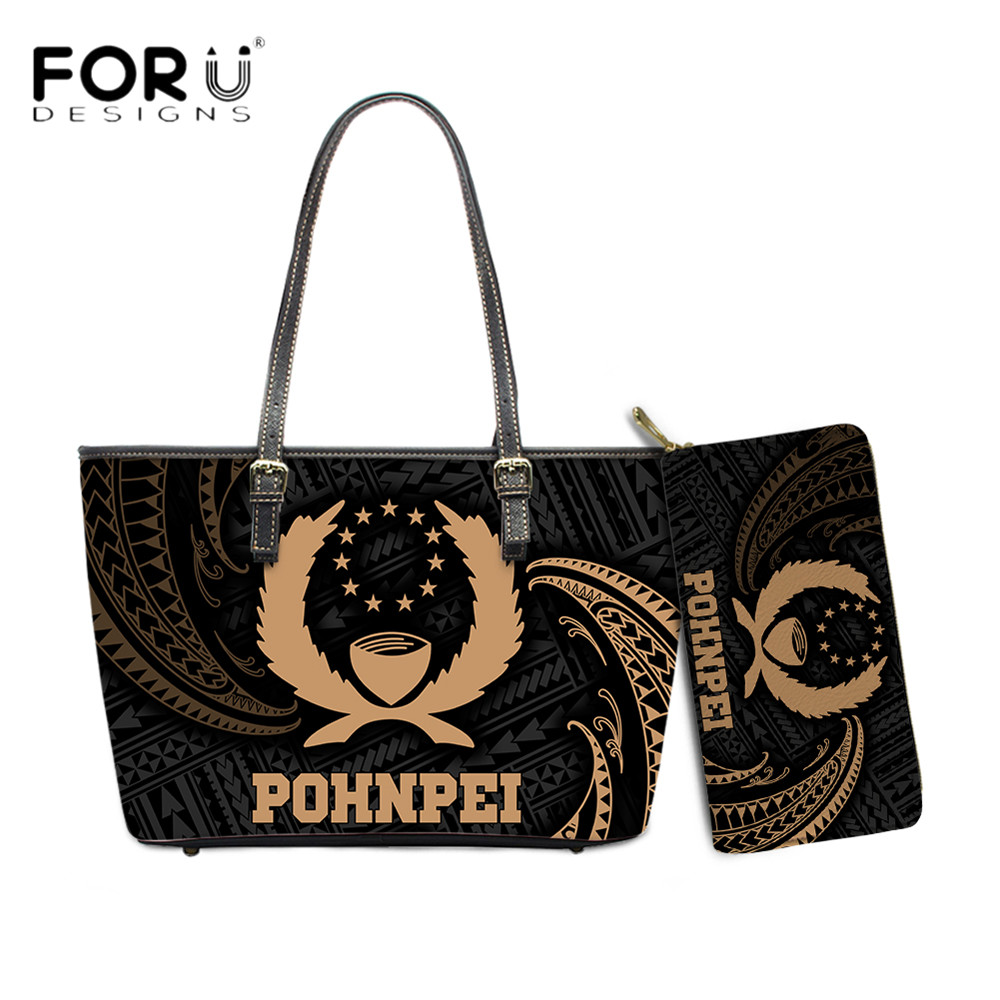 FORUDESIGNS Brand Designs Large Leather Women Handbag And Purse Set Polynesian Pohnpei Tribal Printed Clutch Wallets Totes Femme