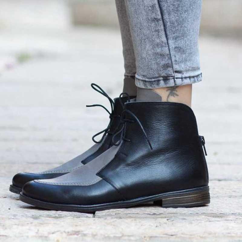 Puimentiua kadın çizmeler yüksek kaliteli PU renk dikiş bağcıklı ayakkabı kadın yarım çizmeler bayanlar rahat ayakkabı Drop Shipping