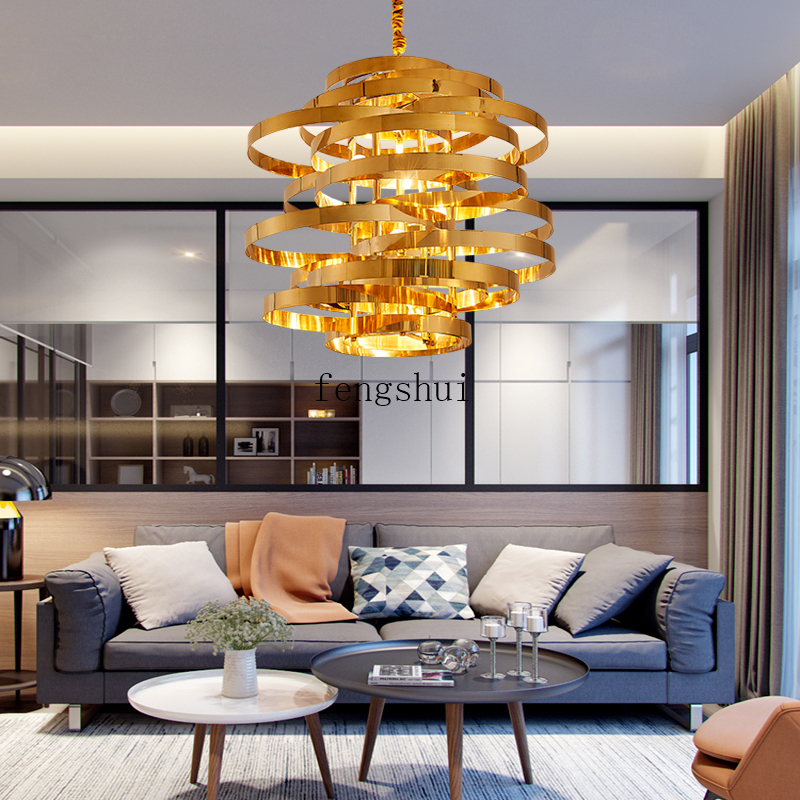 Nordic Stainless Steel Gold LED Pendant Lamp Lighting Circular Tornado Atmosphere Pendant Lights Luxury Dining Room Hanging Lamp