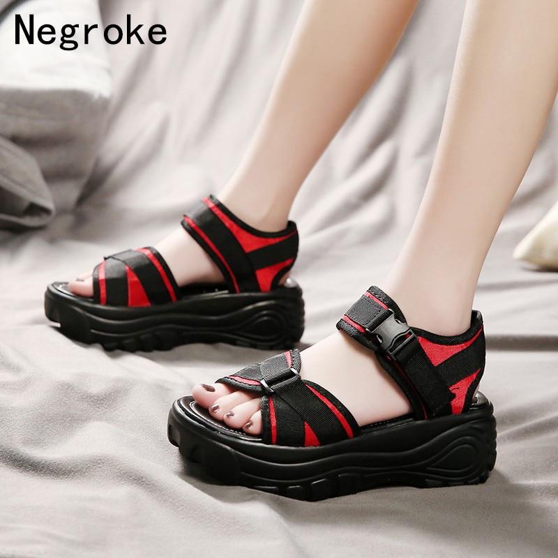 2020 New Fashion Women Platform Sandals Ladies Casual Peep-toe Wedges Shoes Woman Sandalias Mujer Black Red Summer