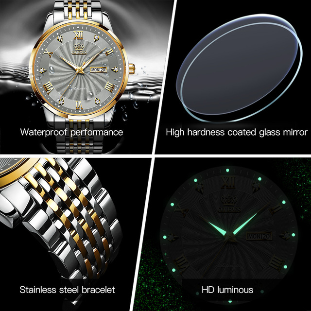OLEVS Men Mechanical Watch Top Brand Luxury Automatic Watch Sport Stainless Steel Waterproof Watch Men relogio masculino 6530 6