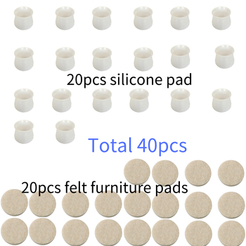 40pcs Round Chair Silicone Furniture Table Leg Caps 5mm Thickness Felt Furniture Pads Felt Floor Protectors For Furniture Legs