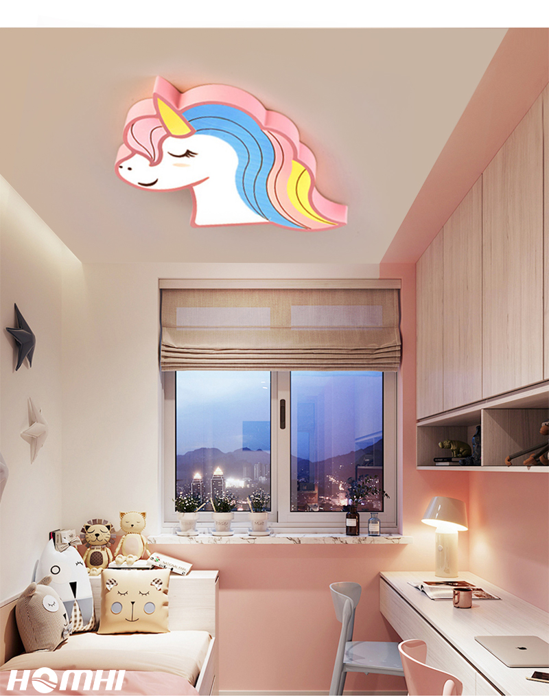 H1cf9f7b371d145acb805ef2251ffdbefH Unicorn kids room light led ceiling lights with remote control cartoon lampshade children room cute ceiling lamp deco child room