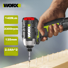 Impact Screwdriver Battery Worx Wu132 Brushless-Motor Cordless Electric 12V 140n.m