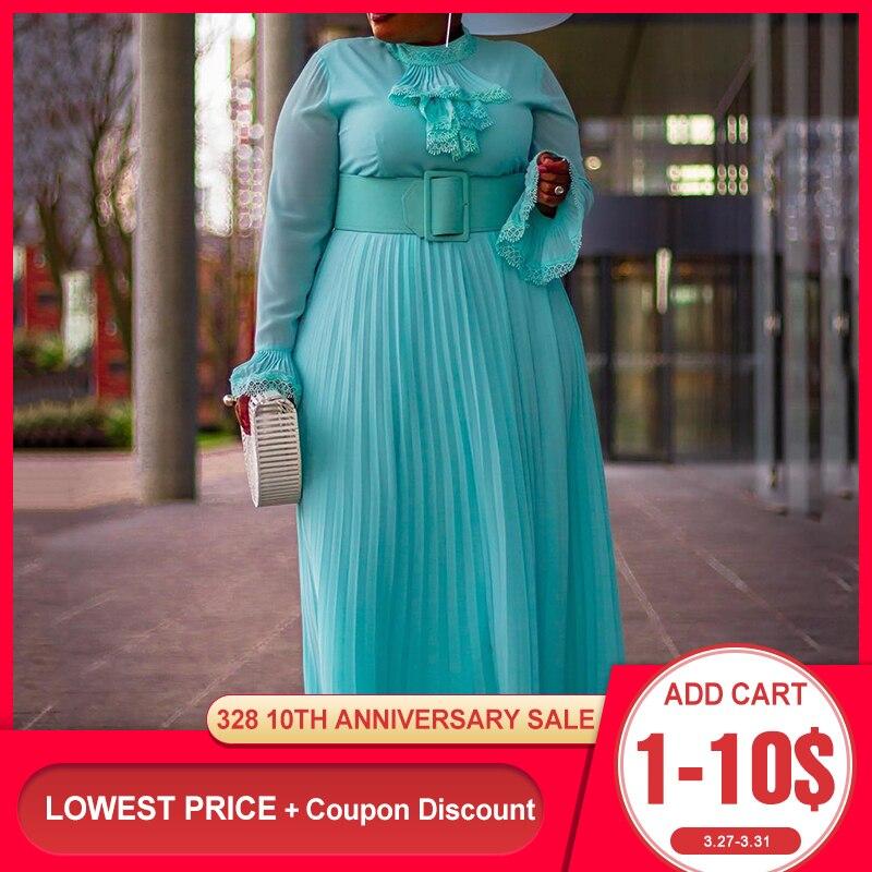 Большие размеры, Осеннее Плиссированное Платье макси с длинным рукавом, женское платье в африканском стиле, большие размеры, свадебные, веч...