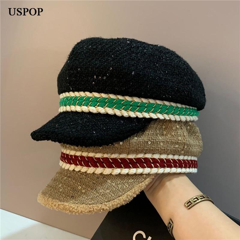 USPOP 2021 Women Autumn Winter Caps Tweed Octagonal Hats Color Patchwork Sequins Newsboy Caps