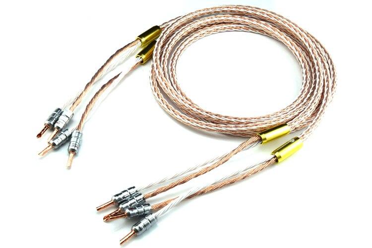 Une paire 8TC Hifi haut-parleur câble avec banane Jack haute Performance pur cuivre HIFI haut-parleur fil pour haut-parleur