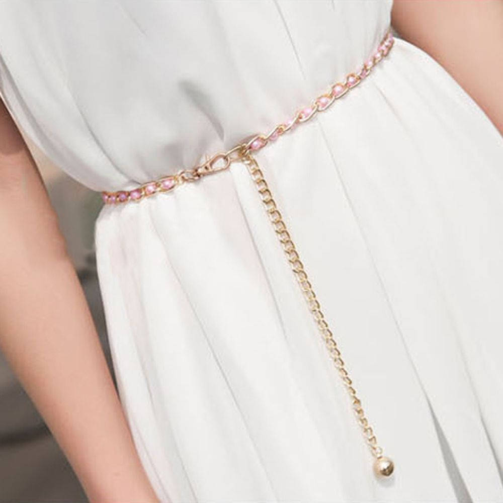 Fashion Imitation Pearl Beads Thin Waist Chain Belt Women Waistband Strap Dress Accessories 3 Colors