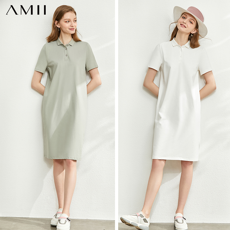 AMII Minimalism Spring Summer Solid Letter Polo Dress Women Caual Loose Short Sleeves Knee-length Female Dress 12060033