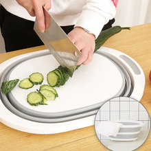 Folding Cutting Board Home Multi-function Plastic Mold Mildew Vegetables Fruit Wash Drain Basket Kitchen Rectangle