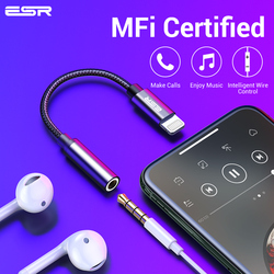 ESR Adaptor Mfi Lighting 3.5 Mm Headphone Jack Aux Audio Bermain untuk iPhone X 7 8 PLUS XR XS 11 Pro Max Earphone Adaptor