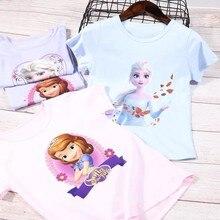 Ropa de verano para niñas, camiseta de manga corta de algodón puro de frozen rápido para niños, camisa de fondo para niñas, Top de bebé de cuello redondo