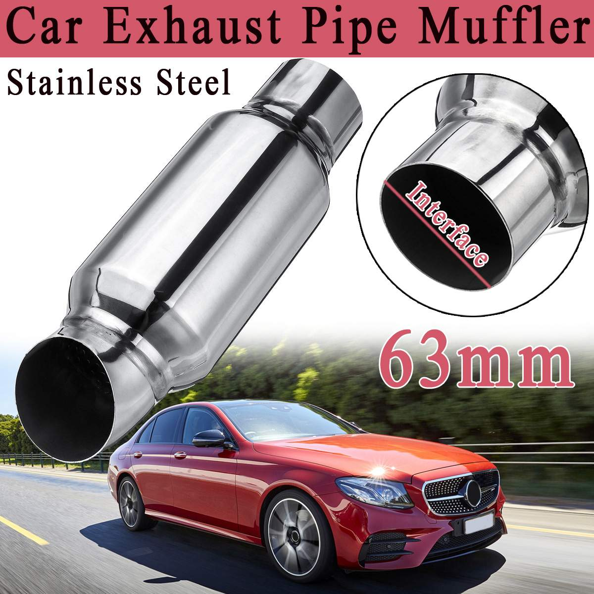 2.5 Car motorcycle exhaust system Muffler tail pipe High Quality Universal Stainless steel 51mm 63mm mufflers Silencer Resonato