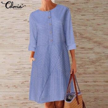 S-5XL vestido de linho feminino 2020 celmia vintage manga comprida bolsos listra midi vestido plus size femme festa vestidos robe oversized