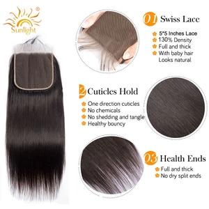 Image 4 - Luz solar brasileiro feixes de cabelo reto com fechamento 5x5 fechamento do laço com 3 pacotes 4 pçs remy feixes de cabelo humano com fechamento