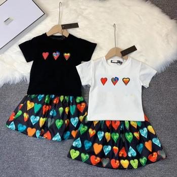 2020 New  Toddler Girls Clothing Set Letter Printed Black/ White top +Skirt Boutique Princess Party Brand Outwear Girls Clothing