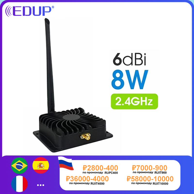 EDUP 8W 2.4GHz WiFi Power Amplifier 5GHz 5W Signal Booster Wireless Range Repeater for Wi-Fi Router Accessories Antenna