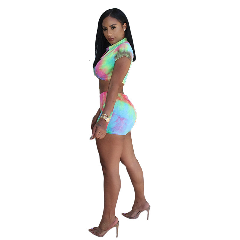 2019 Summer Europe And America New Style WOMEN'S Dress Sports Casual Printed Set Sexy Nightclub Tie-dye Two-Piece Women's
