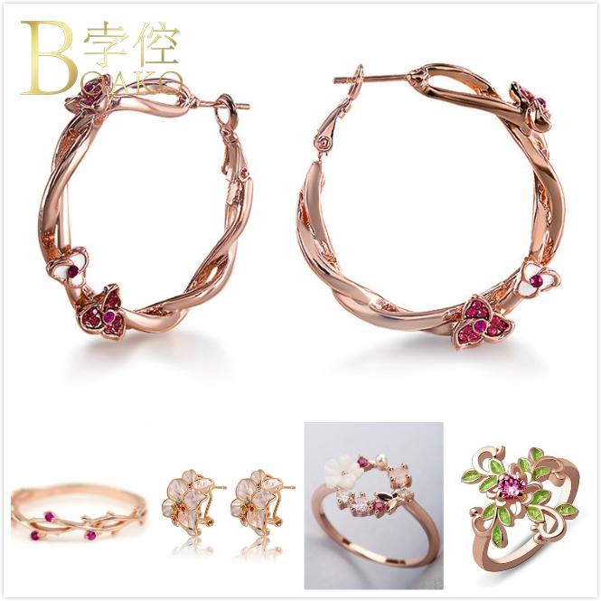 BOAKO Crystal Flower Earrings For Women Vintage Big Rose Gold Girl Engagement Dainty Enemel Hoop K5