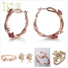 BOAKO Crystal Flower Earrings For Women Vintage Big Rose Gold Girl Engagement Dainty Enemel Hoop K5
