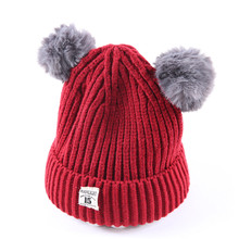 Cute Baby Hat Kids Beanie For Boys Girls Cap Cotton Knitted Ball Warm Children Hats