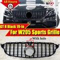 Для Mercedes C Class C205 W205 спортивные переднего бампера GTS решетка гриль ABS глянцевый черный W/Камера Прямая замена 1:1 19-в
