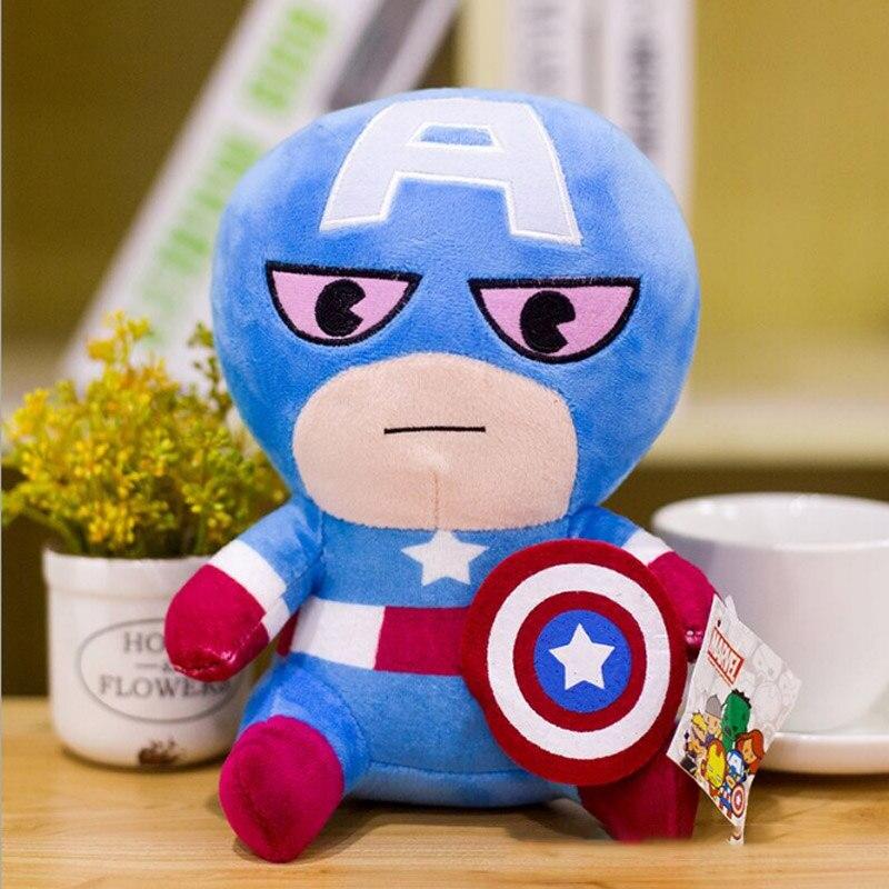 Marvel Мстители 4 плюшевые игрушки супергерой плюшевые куклы Капитан Америка, Железный человек Человек-паук Тор плюшевые мягкие игрушки Человек-паук - Цвет: Коричневый