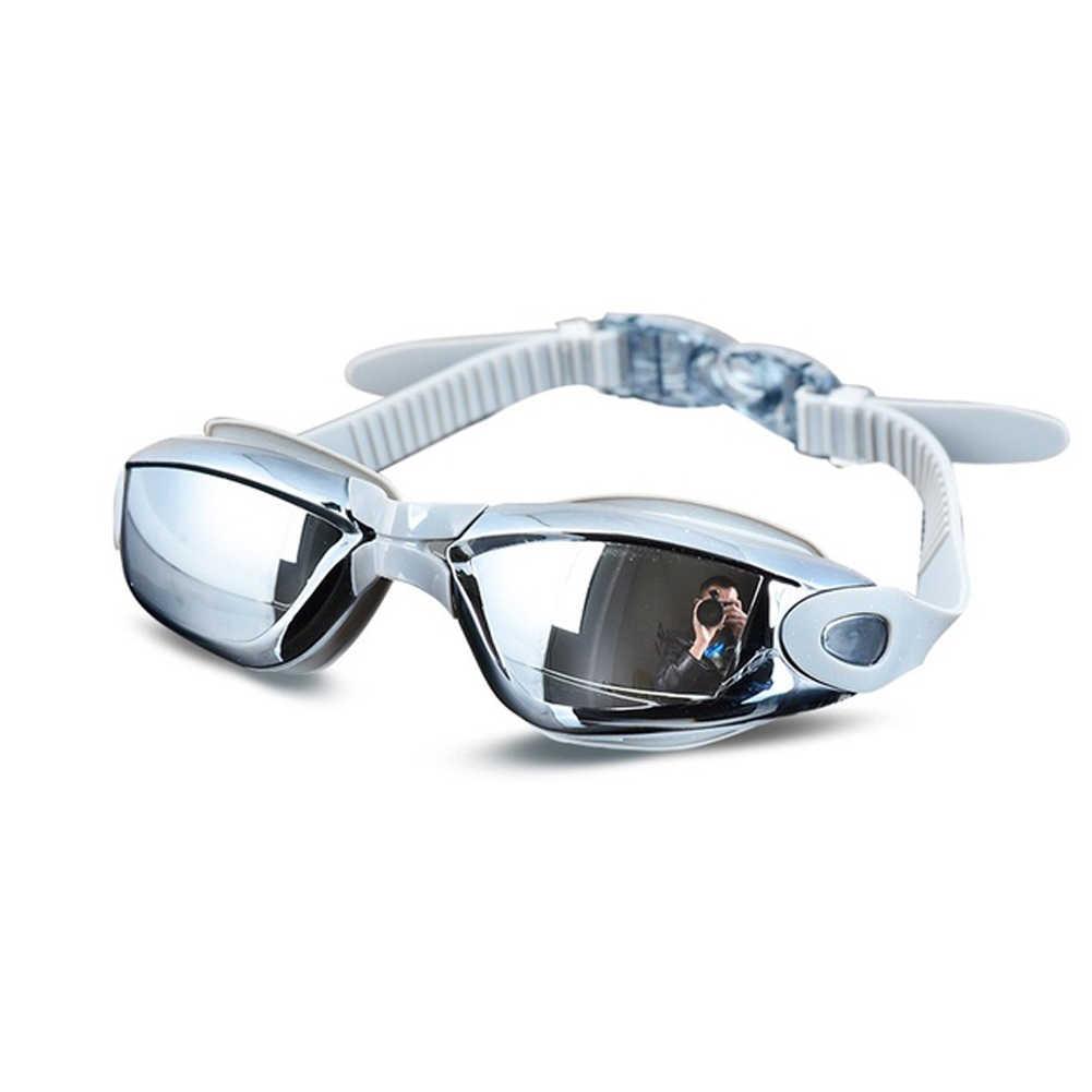 Uv Anti-Fog Galvaniseren Badpak Bril Zwemmen Duiken Verstelbare Zwembril Dames Mannen Zwemmen Goggle Ear Plug